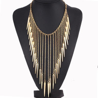 Collares Jewelry European Style Vintage Trench Necklaces Rivet Long Tassel Punk Accessories