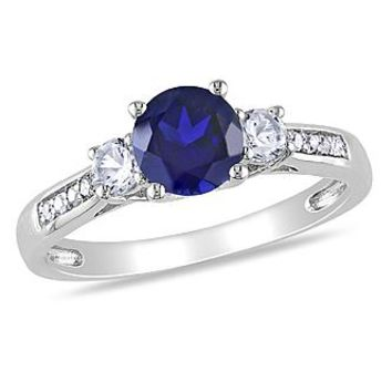 1.4 Cttw. 10k White Gold Created Blue and White Sapphire and Diamond Accent Three-Stone Engagement Ring (G-H I2-I3) - Jewelry - Rings
