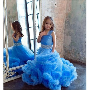 Clouds Flower Girls Dresses Tulle Ruffle Skirt Puffy Tutu Little Girls Party Dresses Crysatl Beads Ball Gown Pageant Dresses