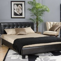 Tufted, Modern Low Profile Platform Bed Upholstered with Black or White Faux Leather- Full, Queen, King Sizes