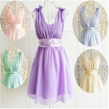Glamour Chiffon Purple Bow Tank V-Neck Princess Junior Bridesmaids Dress XS S M = 5739526081