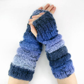Knit fingerless gloves vegan blue blend knit arm warmers fingerless mittens chunky soft indigo and blue tagt team teamt