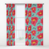 Pretty Flowers With Bright Pink Petals On Blue Window Curtains by Boriana Giormova