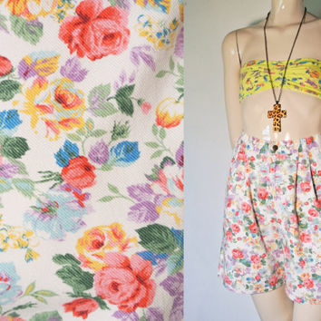 80's to 90's Vintage Floral High Waisted Jean Shorts, hipster shorts, floral shorts
