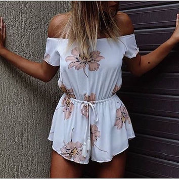 Strapless Off-shoulder Flower Print Short Sleeves Jumpsuits