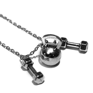 Kettlebell + Two Dumbbells Charm Necklace - Weightlifting Exercise Crossfit Jewelry Fitness Charm Lifting Pendant Handmade Gift