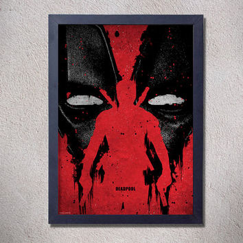 Deadpool,poster,digital print,art,movie poster,comics,red,blood,geek,nerd,movie,black