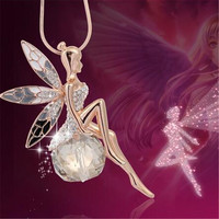 Fashion Jewelry Gold Plated Crystal Angel Wings Chain Necklace/Ahiny Butterfly Fairy Necklace Women Femme Choker