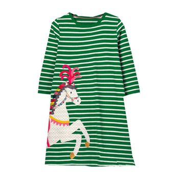 Jumping meters baby girl dresses long sleeve striped applique unicorn fashion cotton children clothes toddler frock kids dresses