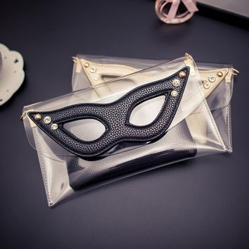 New Womens Sweet Jelly Clear transparent Handbag Tote Shoulder Bags Envelope Big eyes clear bag