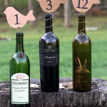 Wire Wine Bottle Topper Table Number Markers/Holders (Brown & Black Bird) Rustic Country Vineyard Wedding