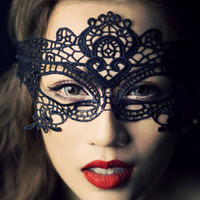 Black Crochet Lace Mask