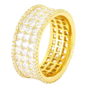 Men's Princess Cut 3 Row Iced Out 14k Gold Finish Ring Band