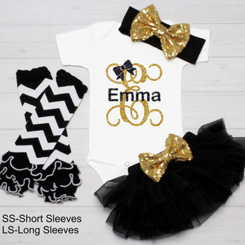 Baby Girl Monogram Outfit Bodysuit Personalized Outfit Shirt Baby Shower Gift Take Home Outfit tutu outfit bow Black Gold Glitter Baby Name