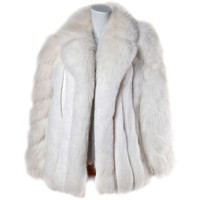 Pristine Finland Arctic Fox Fur Coat in Bright White