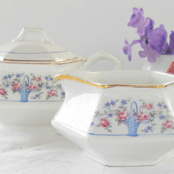 French China Co. Martha Washington Sugar and Creamer Set, French Farmhouse, Tea Parties, Shabby Elegance, Cottage Style, Sebring, Rare