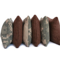 Bean Bags ACU Camo and Chocolate Brown Flannel Army Green Classic Child's Toy Small (set of 6) - US Shipping Included