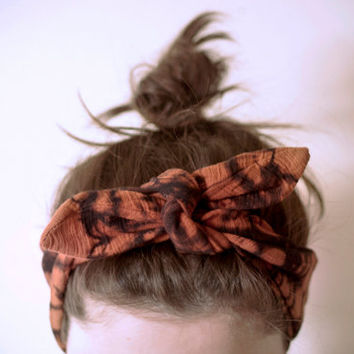 SALE indian cotton fabric, dyed black & rust headband, adjustable