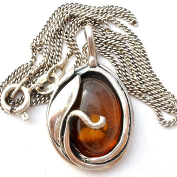 Vintage Amber Pendant Necklace Sterling Silver