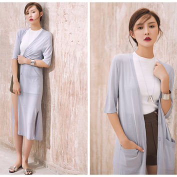 long cardigan in black,gray,button down,side pocket,casual,half sleeve,light sweater,minimalist,fashion,chic,for summer,spring.--E0240