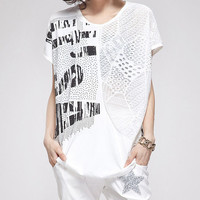 White USA Print T Shirt with Cutout Design