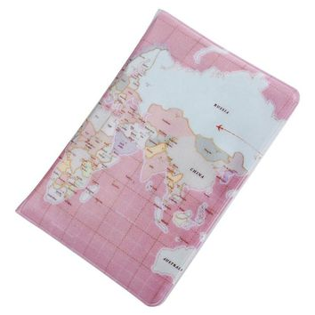 Map Plaid Pattern Open Vertical Passport Holder for Men Women Cover ID Card Bag Passport Wallet Protective