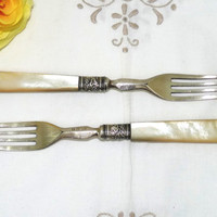 Dessert or Fruit Forks x 2, Early Victorian John Gilbert, Mother of Pearl Handles, Silver Plated, Silver Collars, Antique Flatware, Cutlery