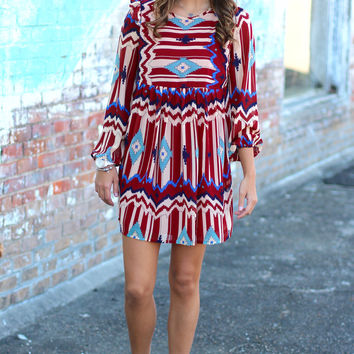 Gone Tribal Dress {Red Mix}