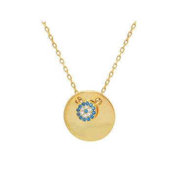 "Fronay Collection Mini Glimmering Evil Eye Disc Pendant Necklace in Sterling Silver: Length 16"" + 2"""