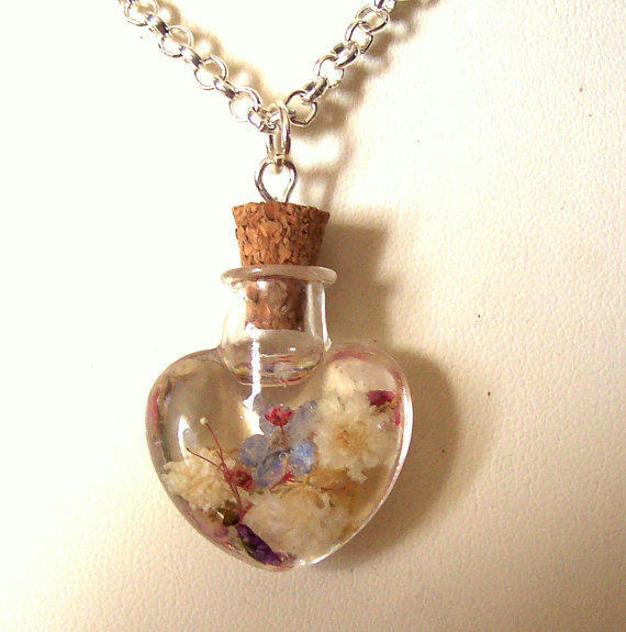 Forget me not Babys Breath Real Pressed Flower Heart Necklace