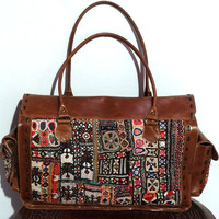 Genuine leather banjara tote bag , gypsy banjara briefcase bag, tribal handmade handbags