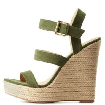 Olive Three Band Espadrille Wedge Sandals by Charlotte Russe