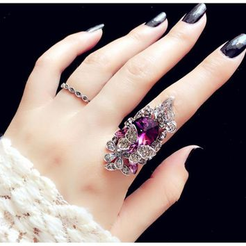 Fashion jewelry Retro sapphire & Amethyst inlay Butterfly ring (two - piece)Size: 5.5-9