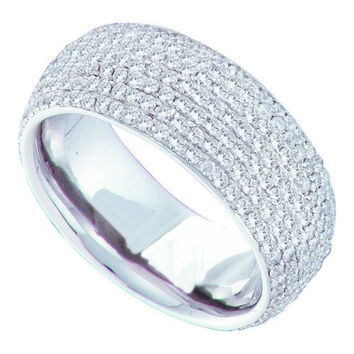 Round Diamond Ladies Fashion Band in 14k White Gold 1.78 ctw