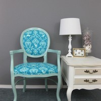 Wildlife Damask in Teal Echino Chair by RubbishRehab on Etsy