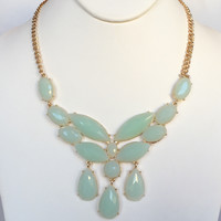 Mona Stone Necklace Set - Mint