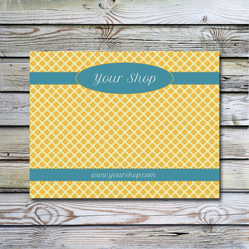 Headband Card Bow Card Display Card design Printable Custom Premade Yellow and teal Christmas In July Sale