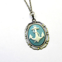 Anchor Necklace -  Blue and White - Nautical Necklace - Silver
