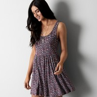 AEO PRINTED FIT & FLARE DRESS