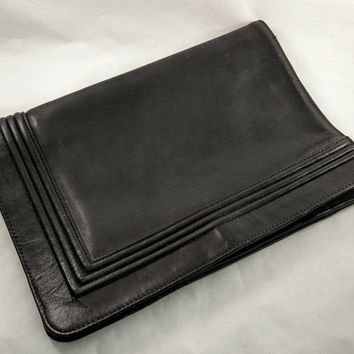 Womens Black Leather Handbag, Fold over Clutch, Large Envelop Clutch Bag, Vintage Stitched Folding Clutch Bag, Dark Charcoal Gray Bag