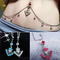 Crystal Rhinestone Flower Shape Pendant Navel Ring Belly Button Bar Waist Chain Body Piercing Jewelry-03324