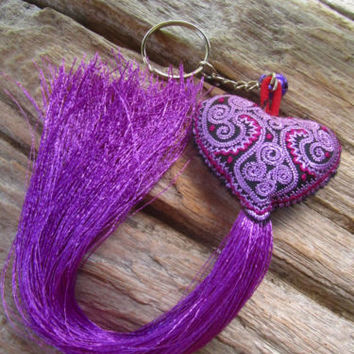 Embroidered Purple Heart Long Tassel Bell Keyring Bag Charm Tribe Hippie Ibiza | eBay