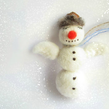 Christmas Ornament,Needle Felted Snowman Ornament ,Christmas Tree Ornament,Snowman,Felt Snowman