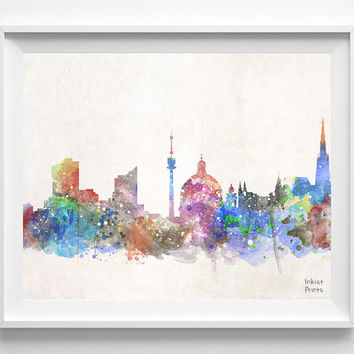 Vienna Skyline, Austria Watercolor, Poster, Wien, Print, Bedroom, Cityscape, City Painting, Illustration Art, Europe [NO 431]