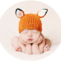 "The Blueberry Hill ""Rusty"" Fox Hat. Baby Photo Prop and Warm Hat. 100% Supersoft Icelandic Acrylic Yarn (Extra Small 3-12 Months)"