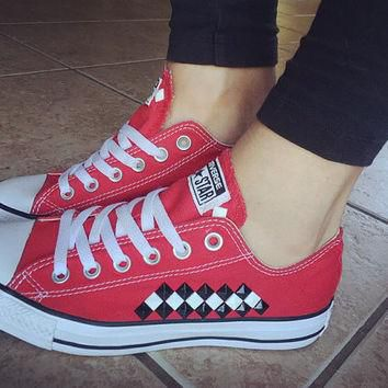 Custom Studded Red Checkered Converse All Star Chuck Taylors - ALL COLORS & SIZES! Cus