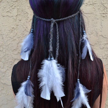 Grey Feather Headband #B1050