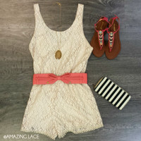 Playdate Pretty Stone Lace Romper