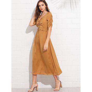 Drawstring Shirred Front Frilled Dress