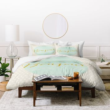 Allyson Johnson French Hello Duvet Cover